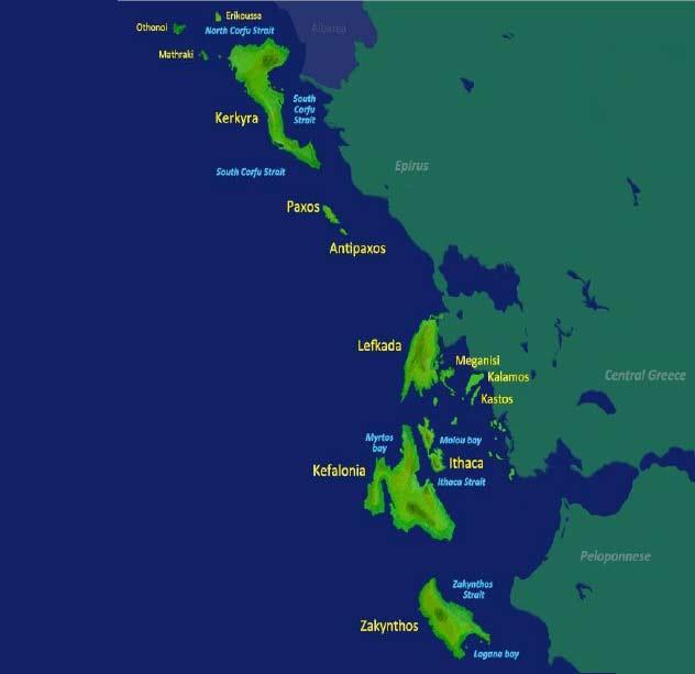 Mapa del mar jónico